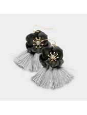 FLOWER & TASSELL EARRINGS - BLACK & GRAY