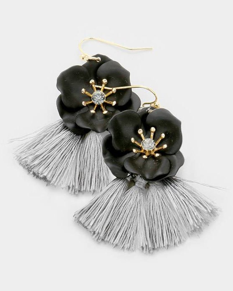 FLOWER & TASSELL EARRINGS - BLACK & GRAY