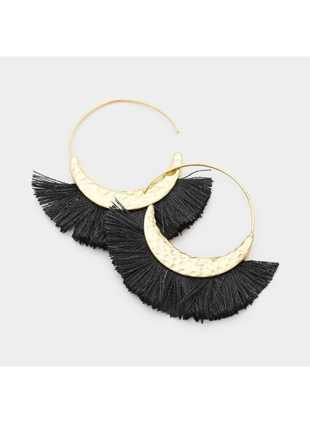 GOLD LOOP TASSEL EARRINGS - BLACK