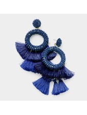 BEADS & TASSEL EARRINGS - BLUE