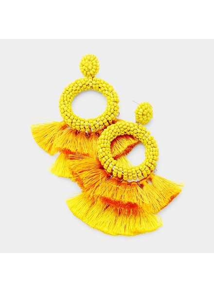 BEADS & TASSEL EARRINGS - YELLOW