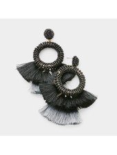 BEADS & TASSEL EARRINGS - BLACK