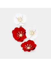 FLOWER EARRINGS - RED & WHITE