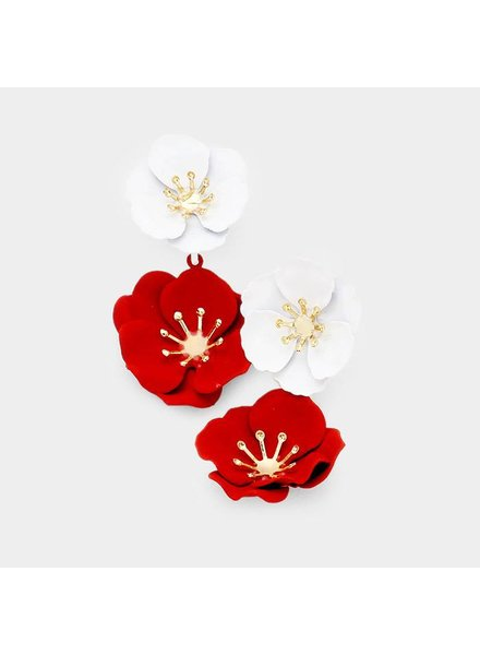 FLOWER EARRINGS - RED & WHITE
