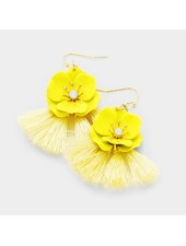 FLOWER & TASSEL EARRINGS - YELLOW