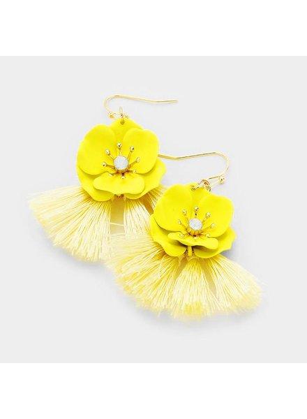 FLOWER & TASSEL EARRINGS - YELLOW
