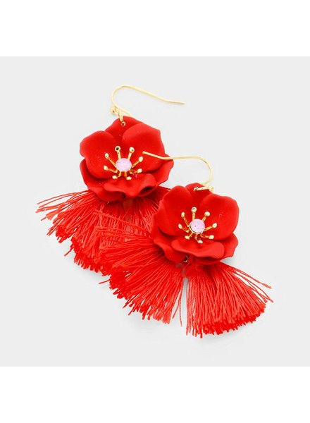 FLOWER & TASSEL EARRINGS - RED