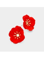 FLOWER EARRINGS - RED