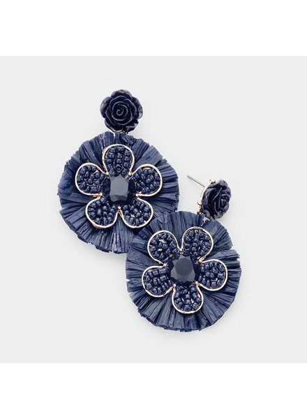 FLOWERS & BEADS EARRINGS - BLUE