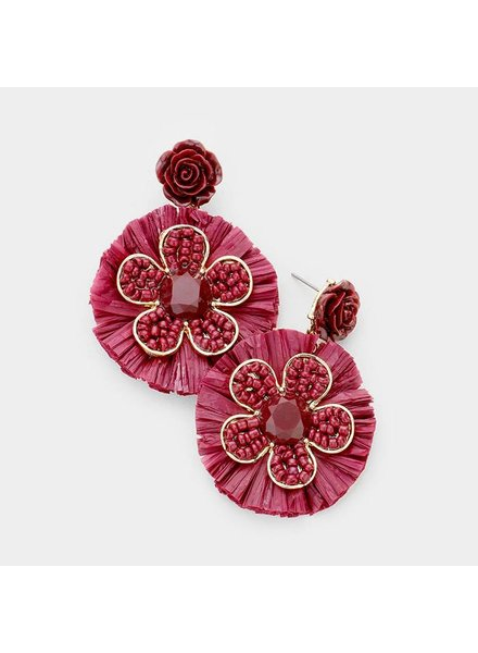 FLOWERS & BEADS EARRINGS - RED