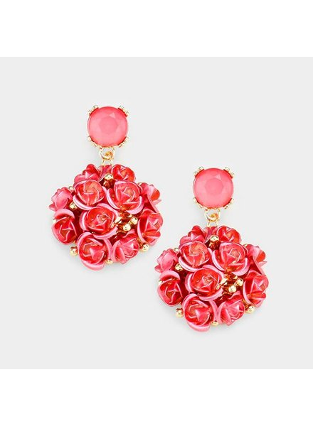 ROSE EARRINGS - RED