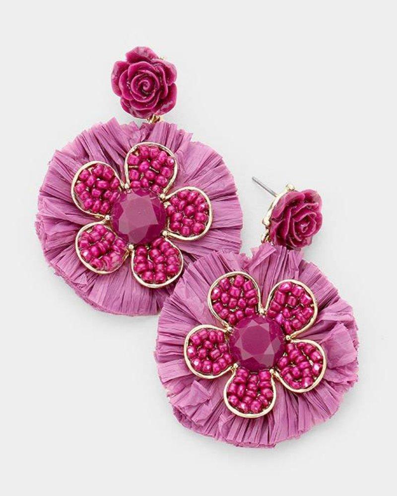 Beaded Flower Raffia Tassel Fringe Disc Earrings
