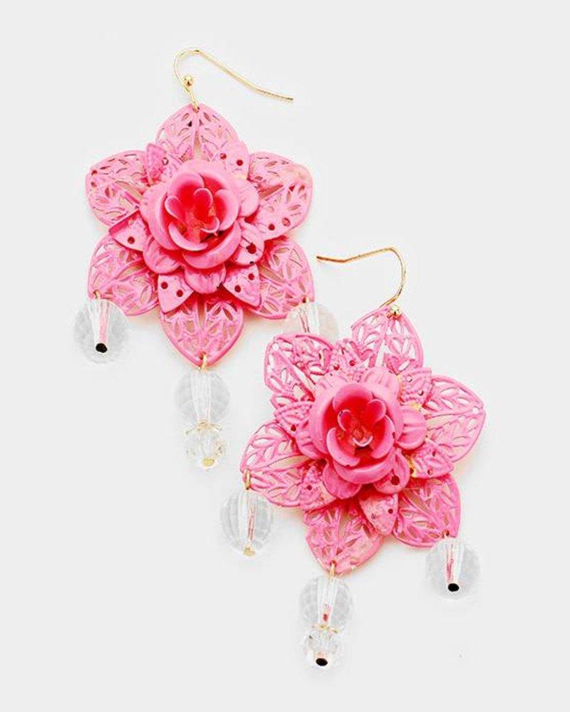 FLOWER EARRINGS - PINK