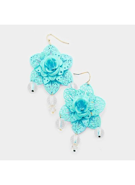 FLOWER EARRINGS - TEAL