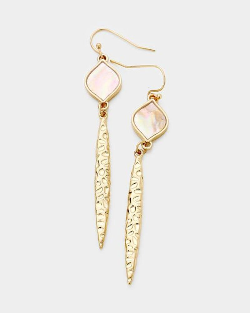 Mother of Pearl Metal Oval Bar Link Dangle Earrings