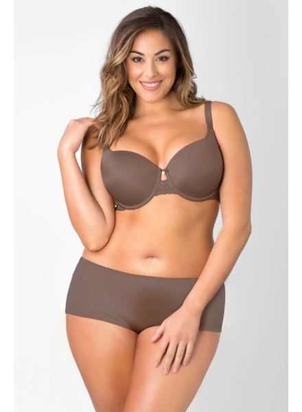 Curvy Couture Essentials Lace Shine T-Shirt Bra - TAUPE