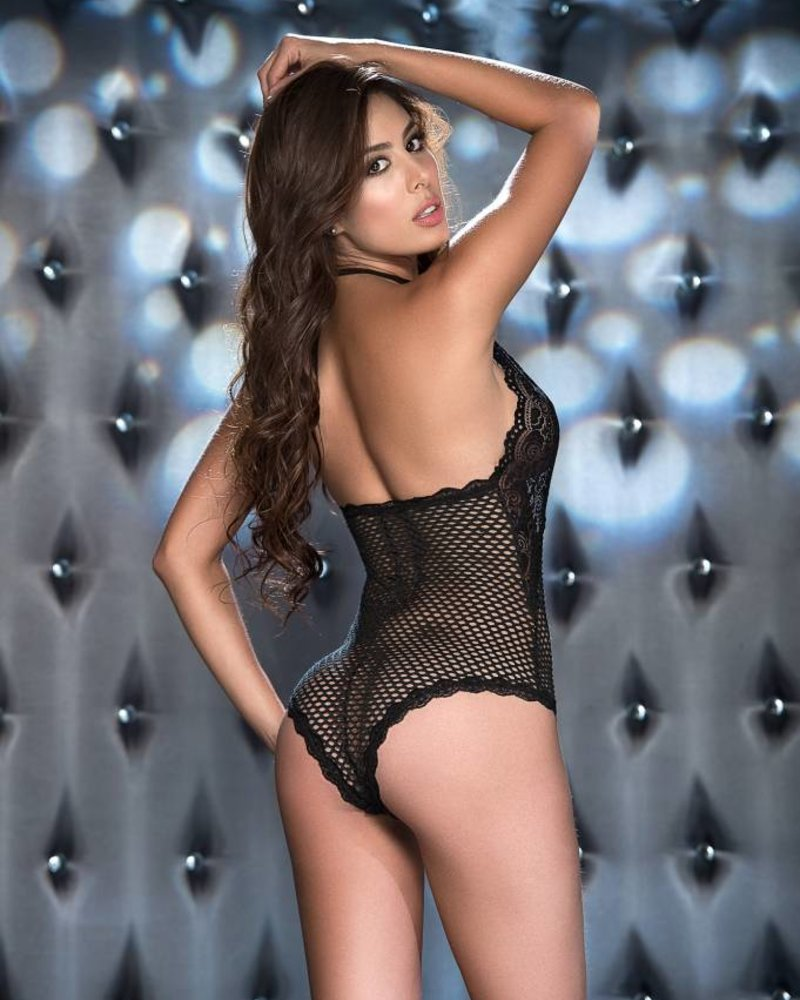 a26c78133 Isabelle Black Lace and Fishnet Teddy - ANGIE DAVIS