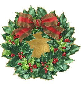 Caspari Christmas Placemats Die Cut Set of 4 Holly Wreath