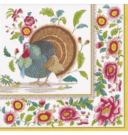 Caspari Fall Paper Cocktail Napkins 20ct Turkey Thanksgiving Setting
