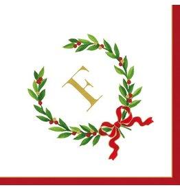 Caspari Christmas Monogram Initial F Paper Cocktail Napkins 20pk