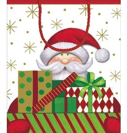 Caspari Gift Bags  9633B7 Santa with Packages Gift Bag LG