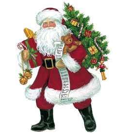 Caspari Christmas Gift Tags 4pk Lynn Haney Santa Ornament