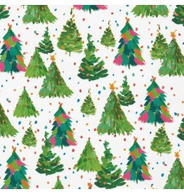 Caspari Christmas Gift Wrapping Paper 8ft Roll Brushstrokes Trees
