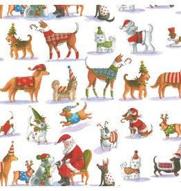 Caspari Christmas Gift Wrapping Paper 8ft Roll Waiting for Santa Dogs