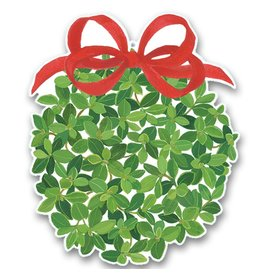 Caspari Christmas Gift Tags 4pk - Boxwood Ball w Red Bow Ornament