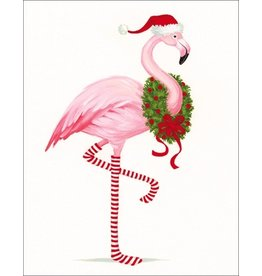Caspari Gift Enclosure Cards 4pk Christmas Flamingo