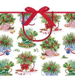 Caspari Christmas Gift Bag Lg 11.75x4.75x10 Christmas Tea