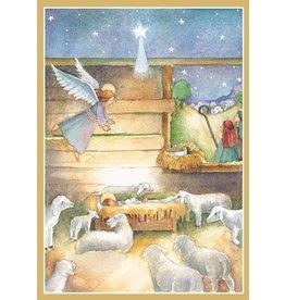 Caspari Boxed Christmas Cards Set of 16 Nativity