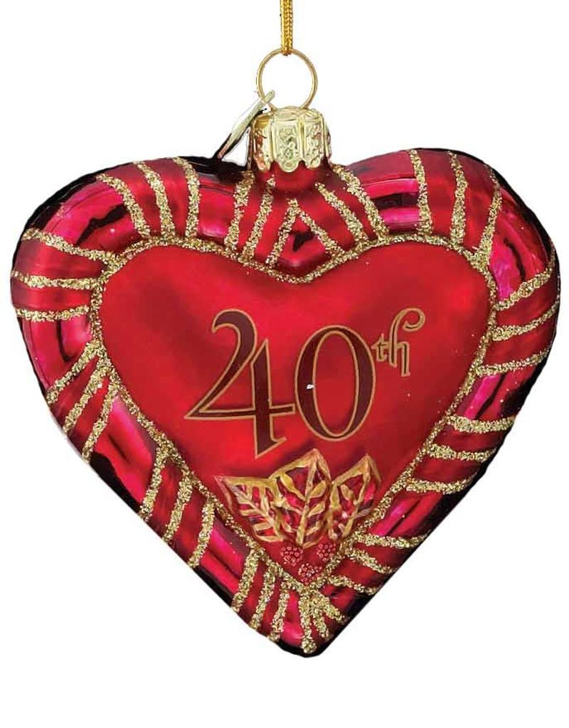 Kurt Adler Noble Gems Glass 40th Anniversary Heart Ornament