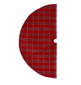 Kurt Adler Miniature Tree Skirt 20inch Plaid Glitter Print w Stripes
