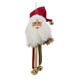 Kurt Adler Santa Head-Santa Face Christmas Ornament w Bells J5925-C