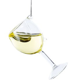 Kurt Adler Glass Wine Glass Ornament D2991-WH White Wine 4 inch
