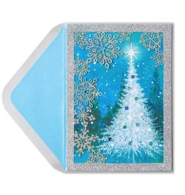 Papyrus Greetings Christmas Card Snow Scene With Laser-Cut Snowflakes