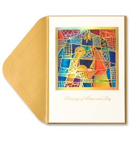 Papyrus Greetings Christmas Card Stained Glass Nativity