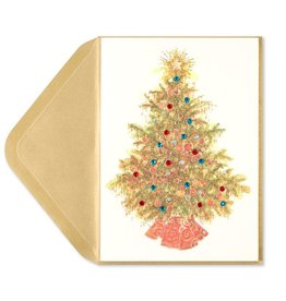 Papyrus Greetings Christmas Card Tree With Gold Tinsel