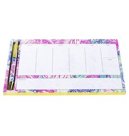 Lilly Pulitzer® Weekly Desk Pad With Pen - Beach Please