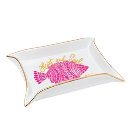 Lilly Pulitzer® Porcelain Trinket Tray - Heart and Sole w Pink Fish