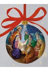 Caspari Boxed Christmas Cards 16pk Nativity Ornament