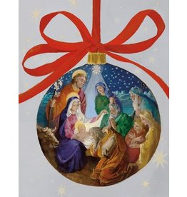 Caspari Boxed Christmas Cards 16pk Nativity Ornament