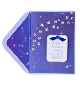 Papyrus Greetings Pet Sympathy Card Paw Prints in Starry Night Sky