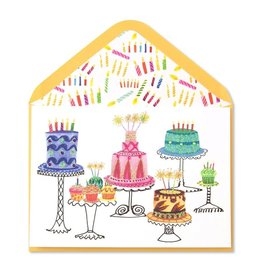 Papyrus Greetings Birthday Card Cakes w Gems on Stands