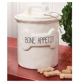 Mud Pie Bone Appetit Dog Treat Canister Molded Ceramic