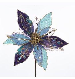 Kurt Adler Poinsettia Pick w Peacock Colors 10 inch