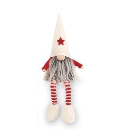 Mud Pie Christmas Gnomes w Dangling Legs Gnome 8.5x4 inch White
