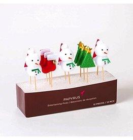 Papyrus Christmas Party Picks 12pk-Snowman Stockings Trees