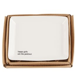 Mud Pie Mottled Porcelain Trinket Dish Happy Girls Are The Prettiest